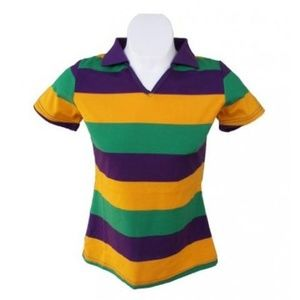 Mardi Gras Ladies V-Neck Short Sleeve Polo Shirt